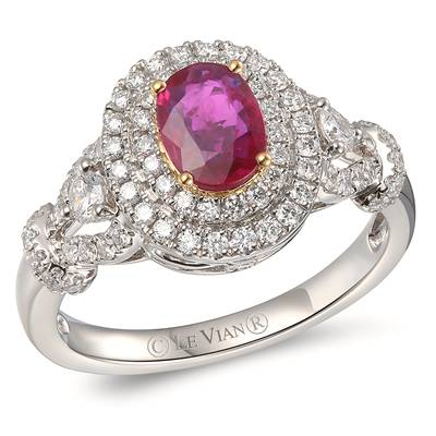 P18 Two Tone Gold Passion Ruby™ 3/4 cts. Ring with Vanilla Diamonds® 5/8 cts. | YRPO 28