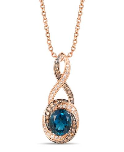 14K Strawberry Gold® Deep Sea Blue Topaz™ 3  3/8 cts. Pendant with Nude Diamonds™ 1/3 cts., Chocolate Diamonds® 3/8 cts. | YRPO 35