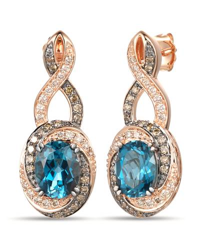 14K Strawberry Gold® Deep Sea Blue Topaz™ 4  1/5 cts. Earrings with Chocolate Diamonds® 3/8 cts., Nude Diamonds™ 3/8 cts. | YRPO 36