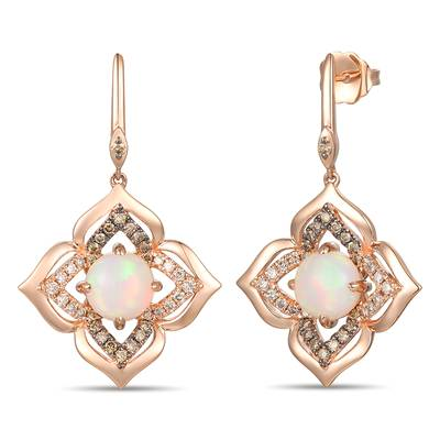 14K Strawberry Gold® Neopolitan Opal™ 1  3/8 cts. Earrings with Chocolate Diamonds® 1/4 cts., Nude Diamonds™ 1/4 cts. | YRQF 14