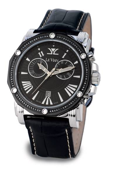 Stainless Steel Watch with Black Diamonds 5/8 cts. | ZAG 150