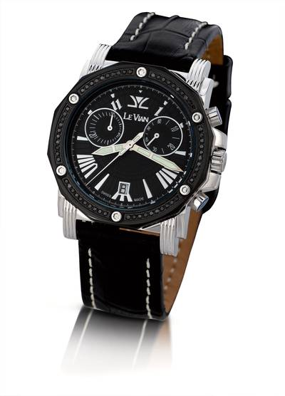 Stainless Steel Watch with Black Diamonds 1/2 cts. | ZAG 165