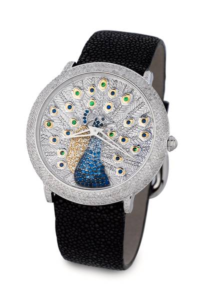 Stainless Steel Blueberry Sapphire™ 1 cts., Forest Green Tsavorite™ 3/8 cts. Watch with Vanilla Diamonds® 3 cts., Blackberry Diamonds®  cts. | ZAG 223
