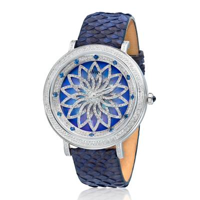 Stainless Steel Blueberry Sapphire™ 3/8 cts. Watch with Vanilla Diamonds® 3  5/8 cts. | ZAG 248