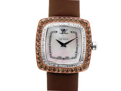 Stainless Steel Chocolate Quartz®  cts. Watch with Vanilla Diamonds® 5/8 cts. | ZRPA 65