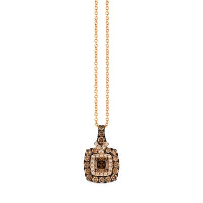 14K Strawberry Gold® Pendant with Chocolate Diamonds® 1 cts., Vanilla Diamonds® 1/8 cts. | ZUNR 62