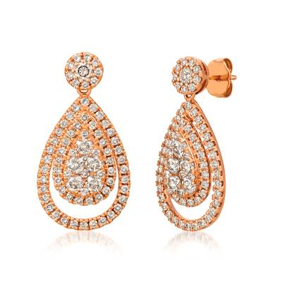 14K Strawberry Gold® Earrings with Nude Diamonds™ 2  3/8 cts. | ZUNX 49